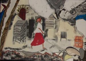 HAÏTI, acrylique et collage 92x65 ,2013 dans Liens haiti-2013-92x65-023-300x214